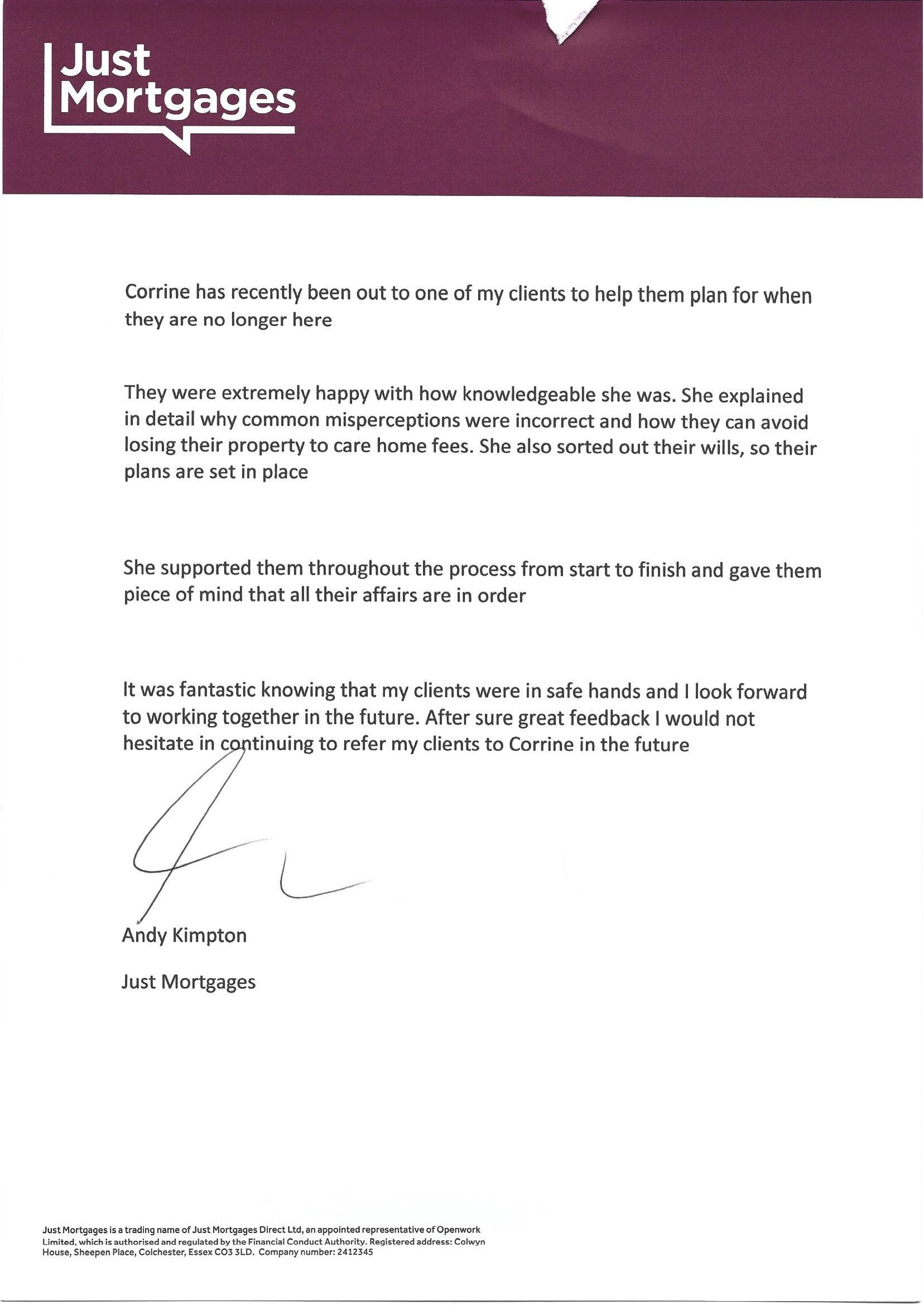 Testimonial on printed letterhead from Andy Kimpton, Just Mortgages, Liverpool to Where There's A Will, Southport, Merseyside.