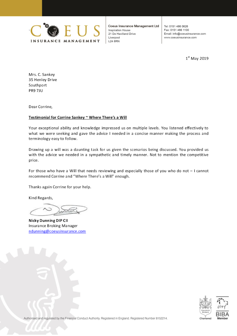 Testimonial on letterhead from Coeus Insurance of Liverpool to Where There's A Will Southport