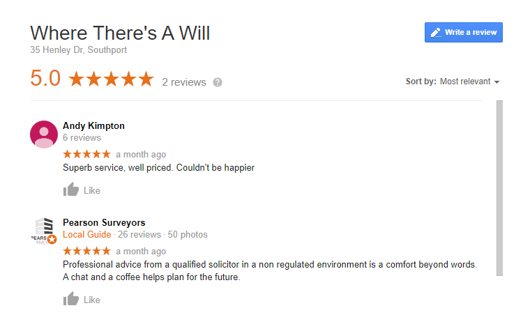Online Google reviews panel for Where There's A Will Southport