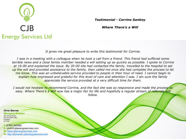 Testimonial from CJB Energy for Where There's A Will Southport : Written on Letterhead.